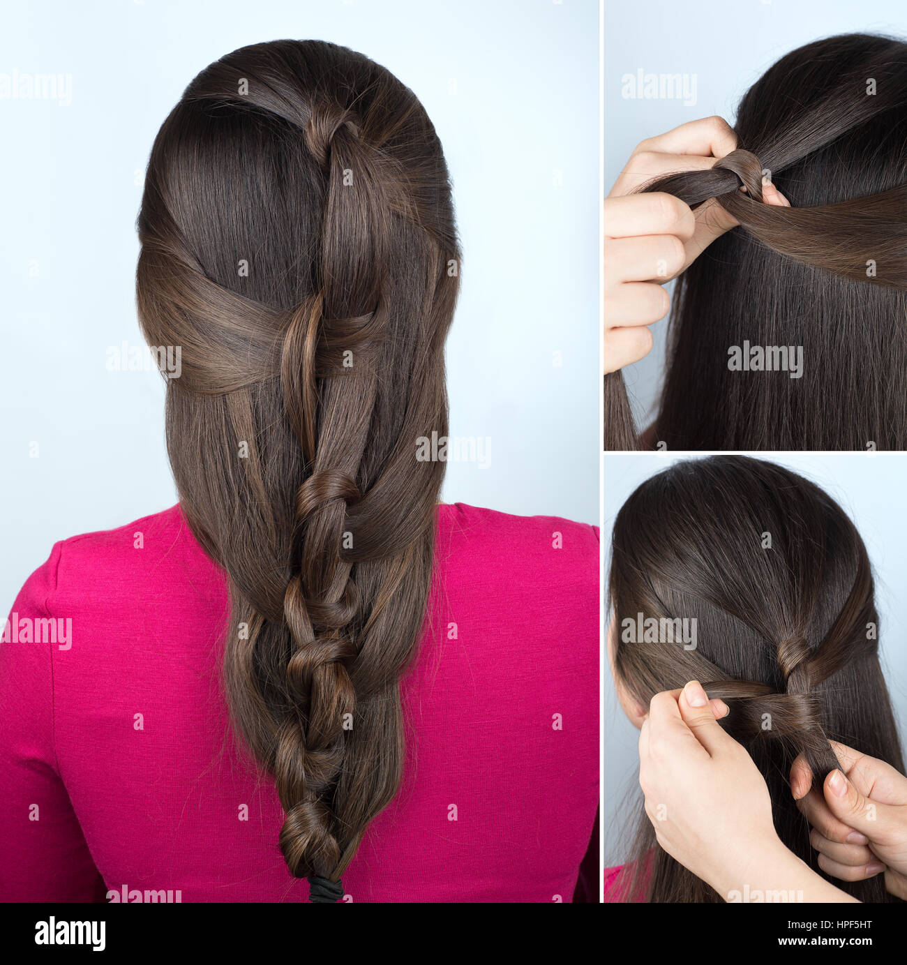 Exceptional Simple Hairstyle Twisted Plait Tutorial. Easy Hairstyle For Long Hair.  Hairstyle Of Twisted Knots. Hairstyle Tutorial Step By Step