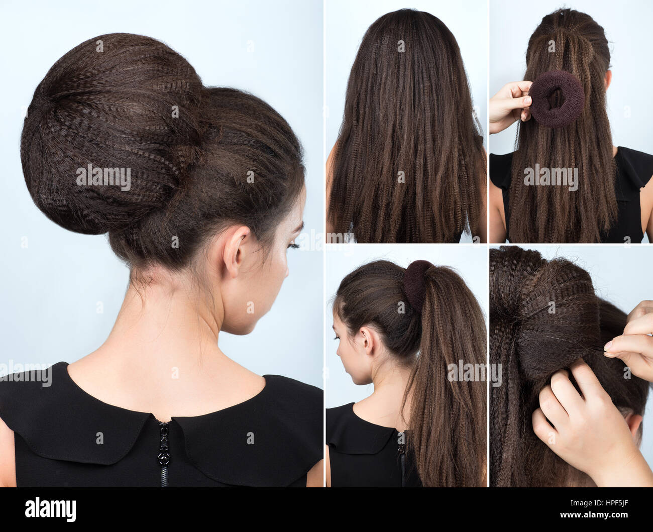 Hairstyle tutorial volume bun with chignon. Hairstyle tutorial for long hair. Hairstyle bun. Tutorial. Hair model. - Stock Image