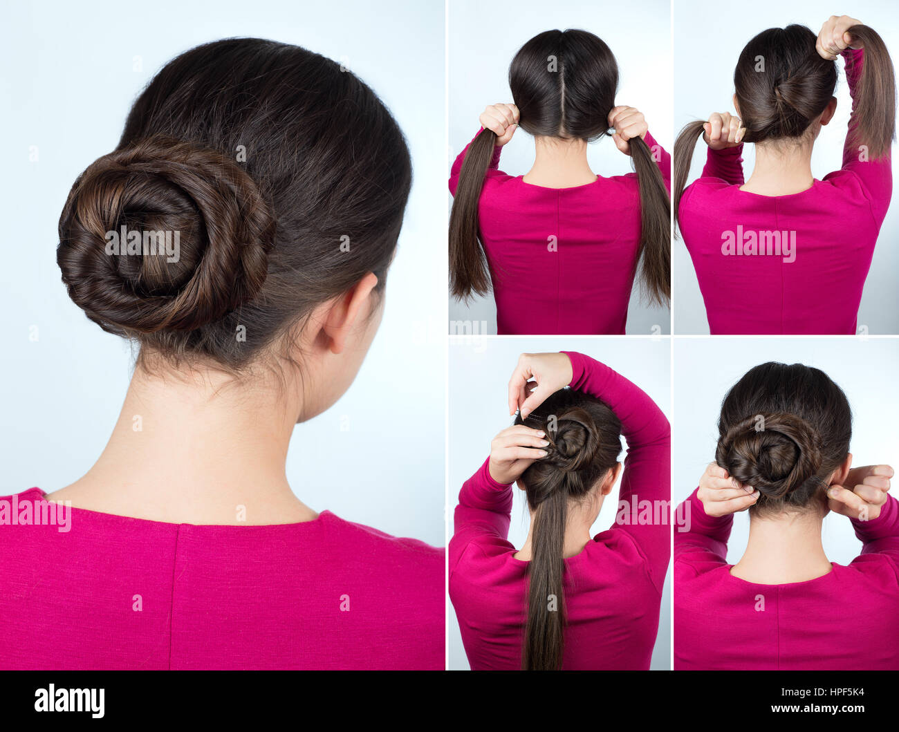 Hair tutorial step by step. Simple hairstyle twisted bun tutorial. Backstage technique of twist bun. Hairstyle for - Stock Image