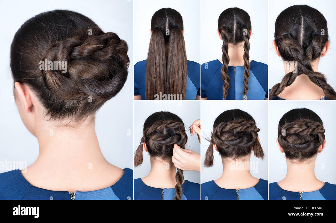 Hair tutorial. Hairstyle twisted bun tutorial. Backstage technique of twist bun. Hairstyle. Pull through braid chignon - Stock Image