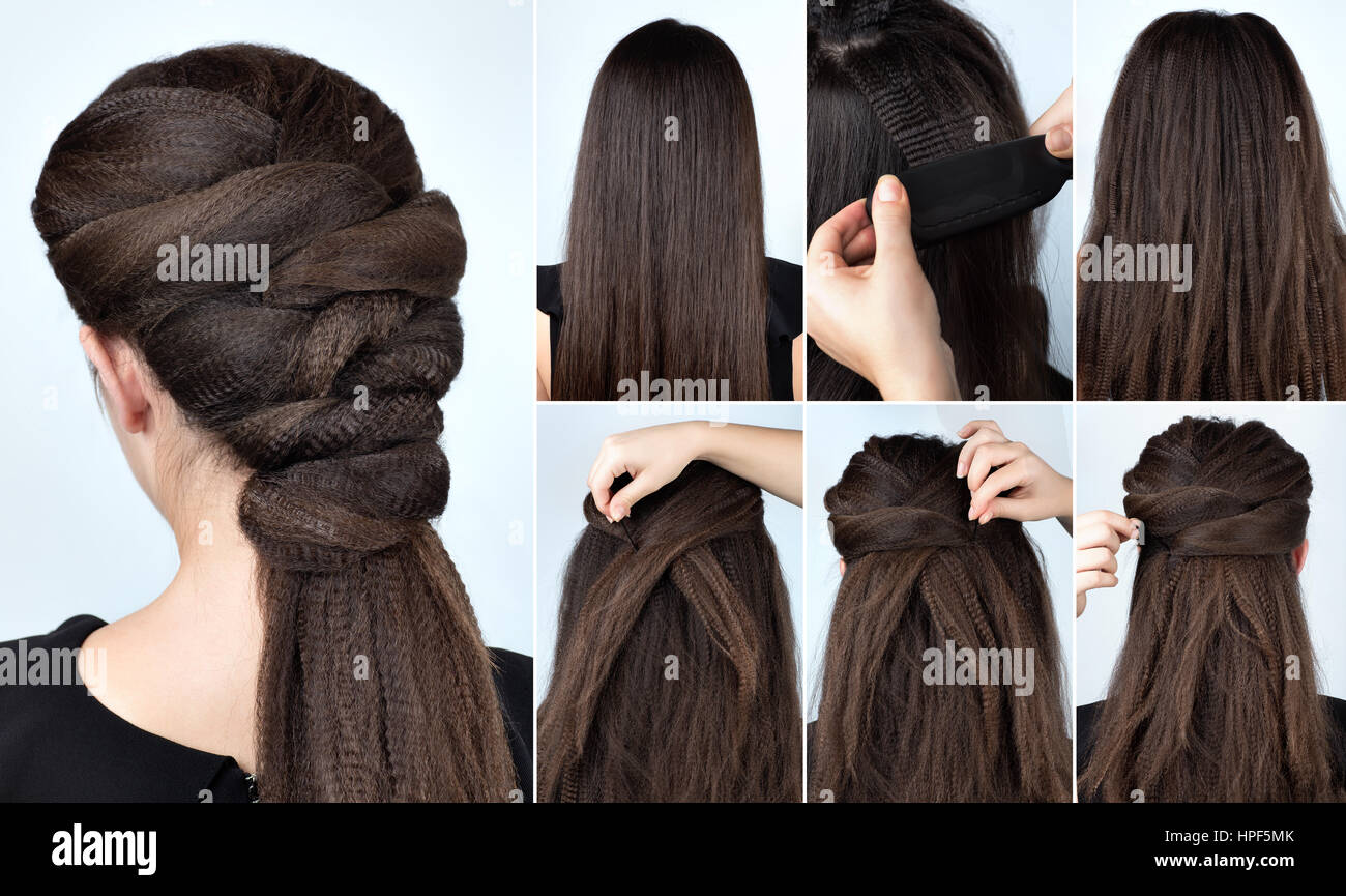 Fashionable Volume Hairstyle Ponytail With Ripple Curly Hair Stock