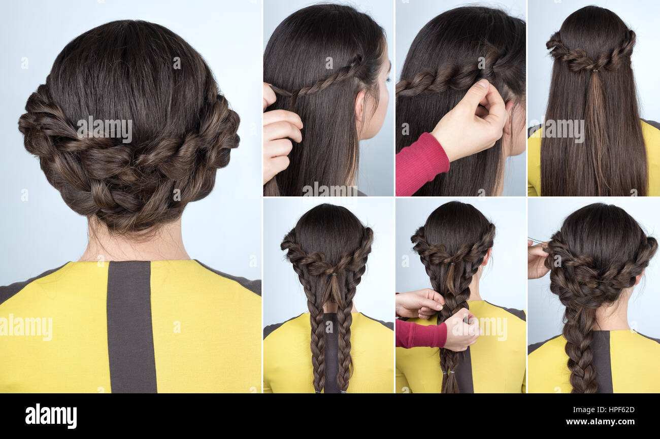 Elegant Updo With Braids Hairstyle Tutorial For Long Hair Stock