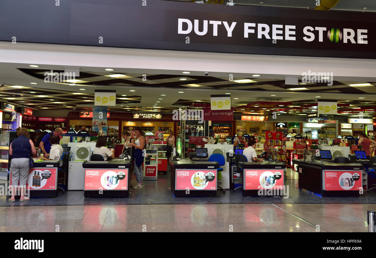 Entrance to Duty Free Store with sign above in Faro airport, Europe - Stock Image