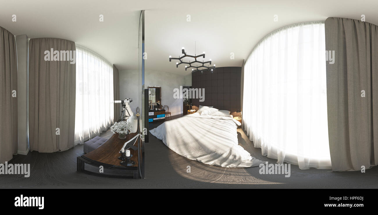 3d illustration spherical 360 degrees, seamless panorama of bedroom interior design. The bedroom is made in grey Stock Photo