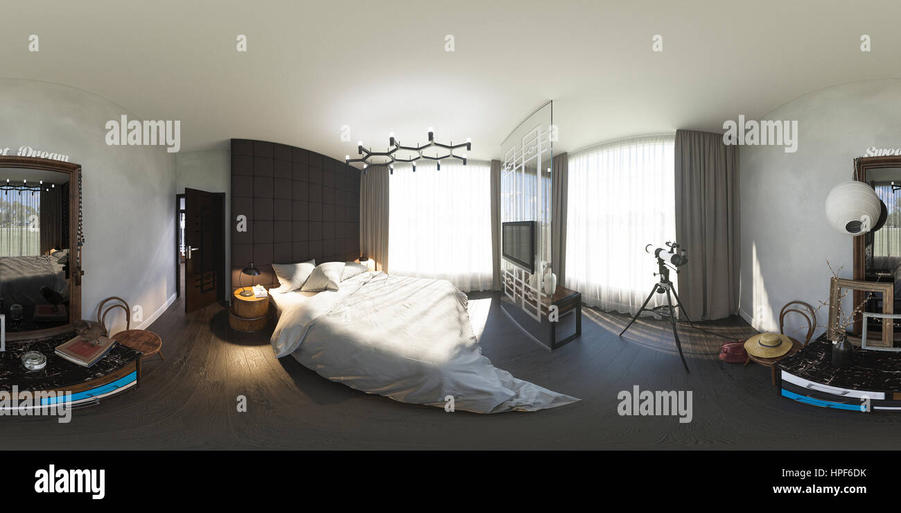 3d Illustration Spherical 360 Degrees Seamless Panorama Of Bedroom Stock Photo Alamy