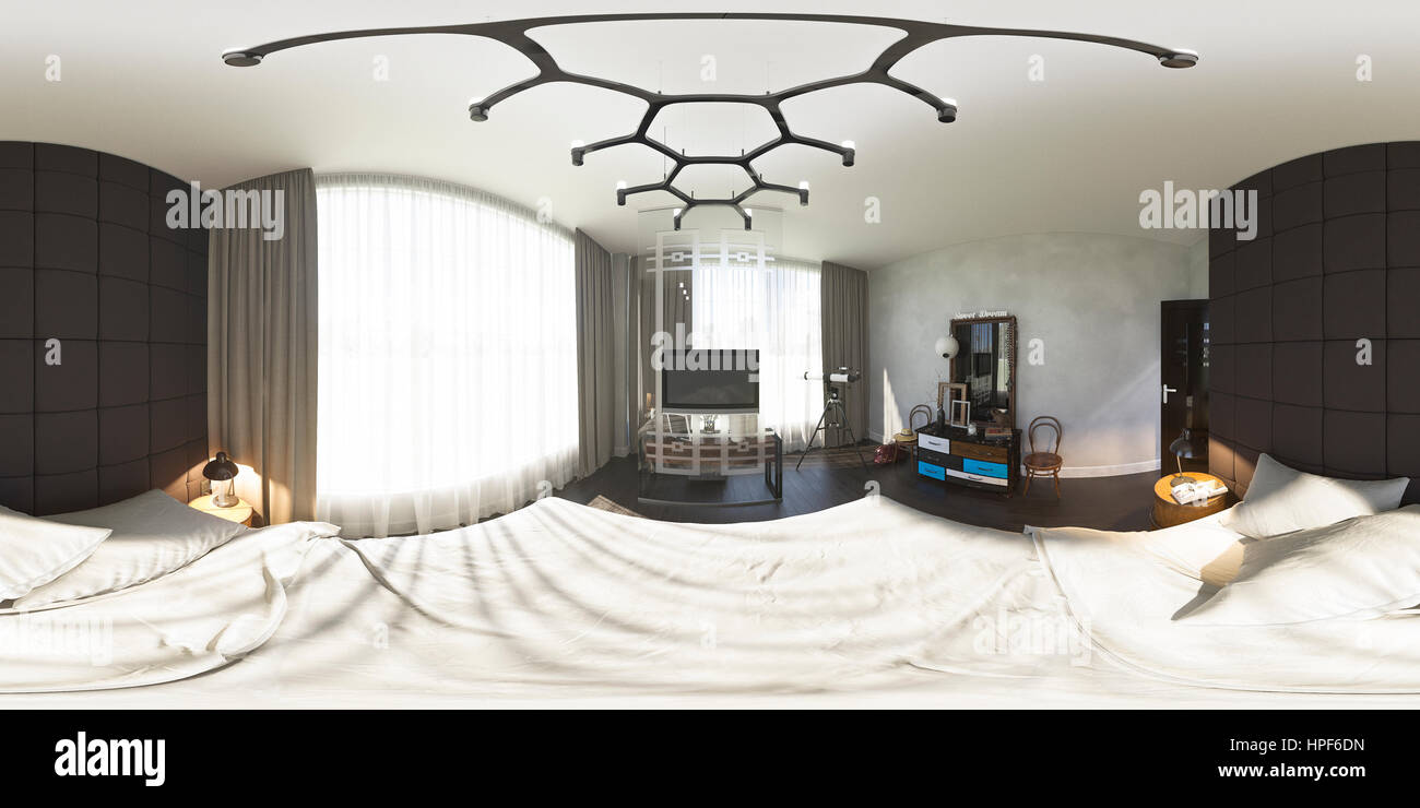 3d illustration spherical 360 degrees, seamless panorama of bedroom interior design. The bedroom is made in grey - Stock Image