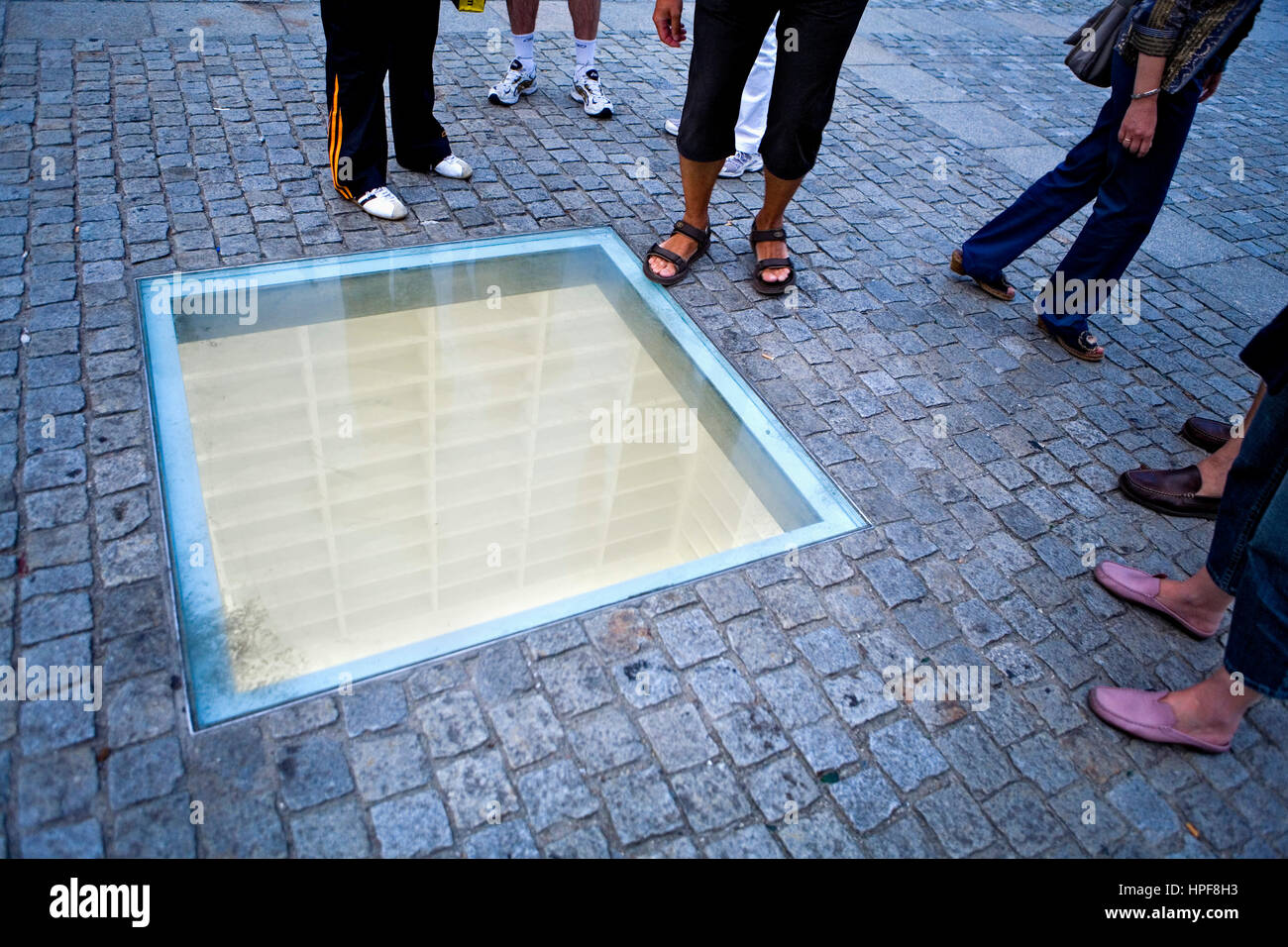 Bebelplatz.Memorial site Nazi book burning.Monument that remembers burns it of books of the library of the university Stock Photo