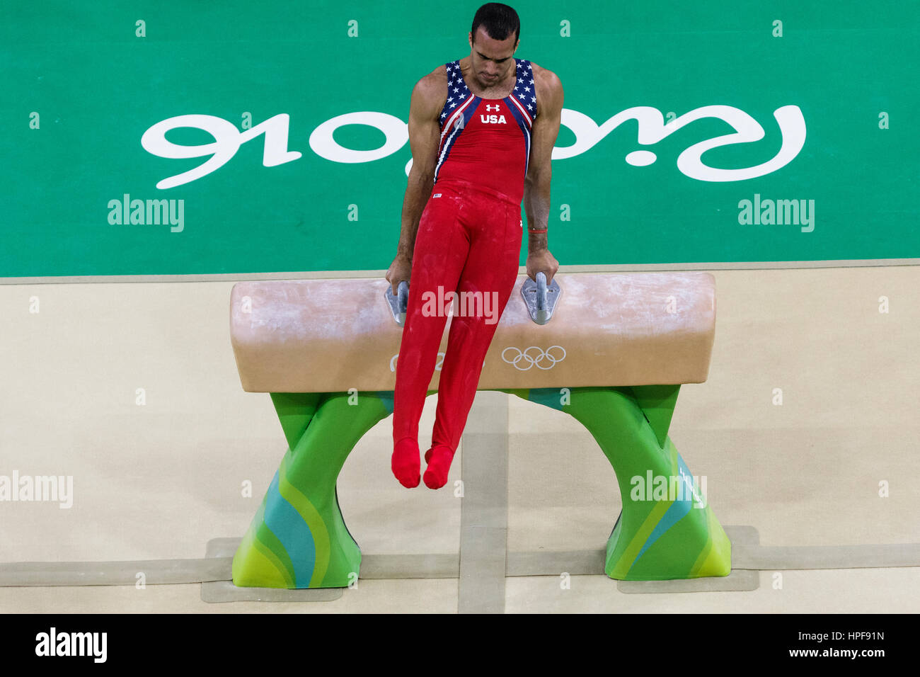 Rio de Janeiro, Brazil. 08 August 2016 Danell Leyva (USA) performs on the Pommel Horse during Men's artistic - Stock Image