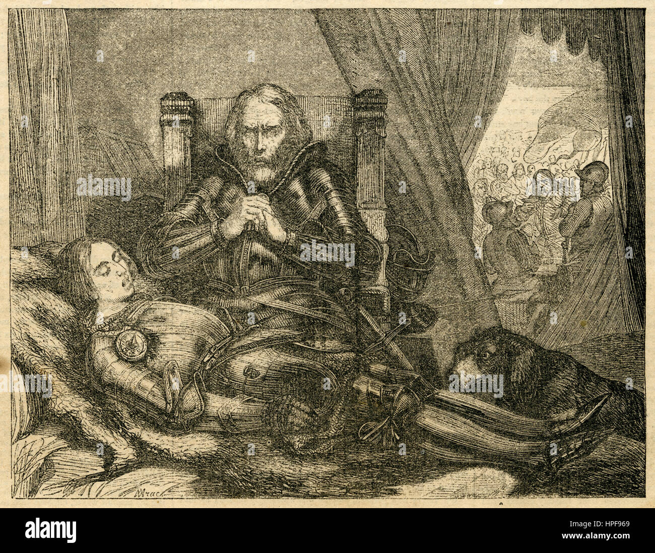 Antique 1854 engraving, 'Eberhard the Weeper' mourns his dead son. Eberhard II, called 'der Greiner' - Stock Image