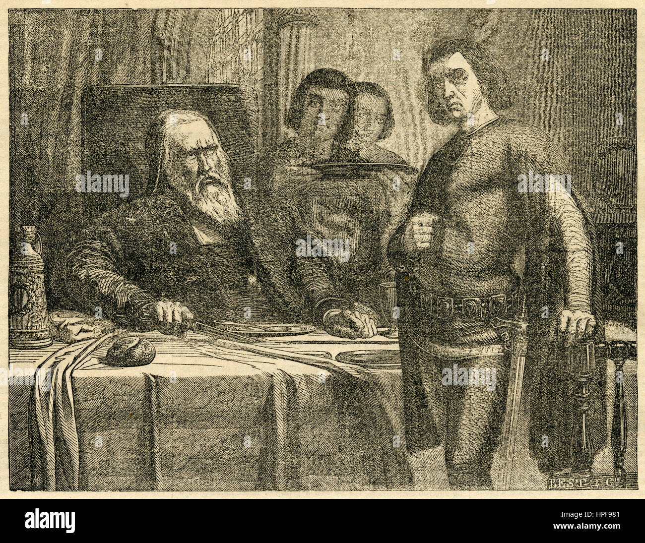 Antique 1854 engraving, Count Eberhard Severing the Table Cloth. Eberhard II, called 'der Greiner' (the - Stock Image
