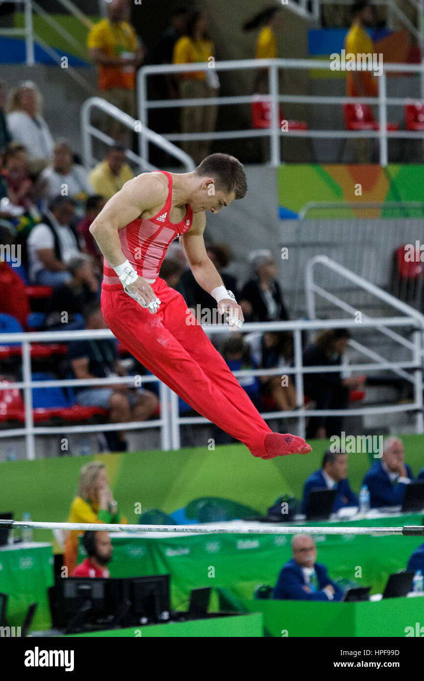 Rio de Janeiro, Brazil. 08 August 2016 Max Whitlock (GBR) performs on the Horizontal Bar during Men's artistic - Stock Image