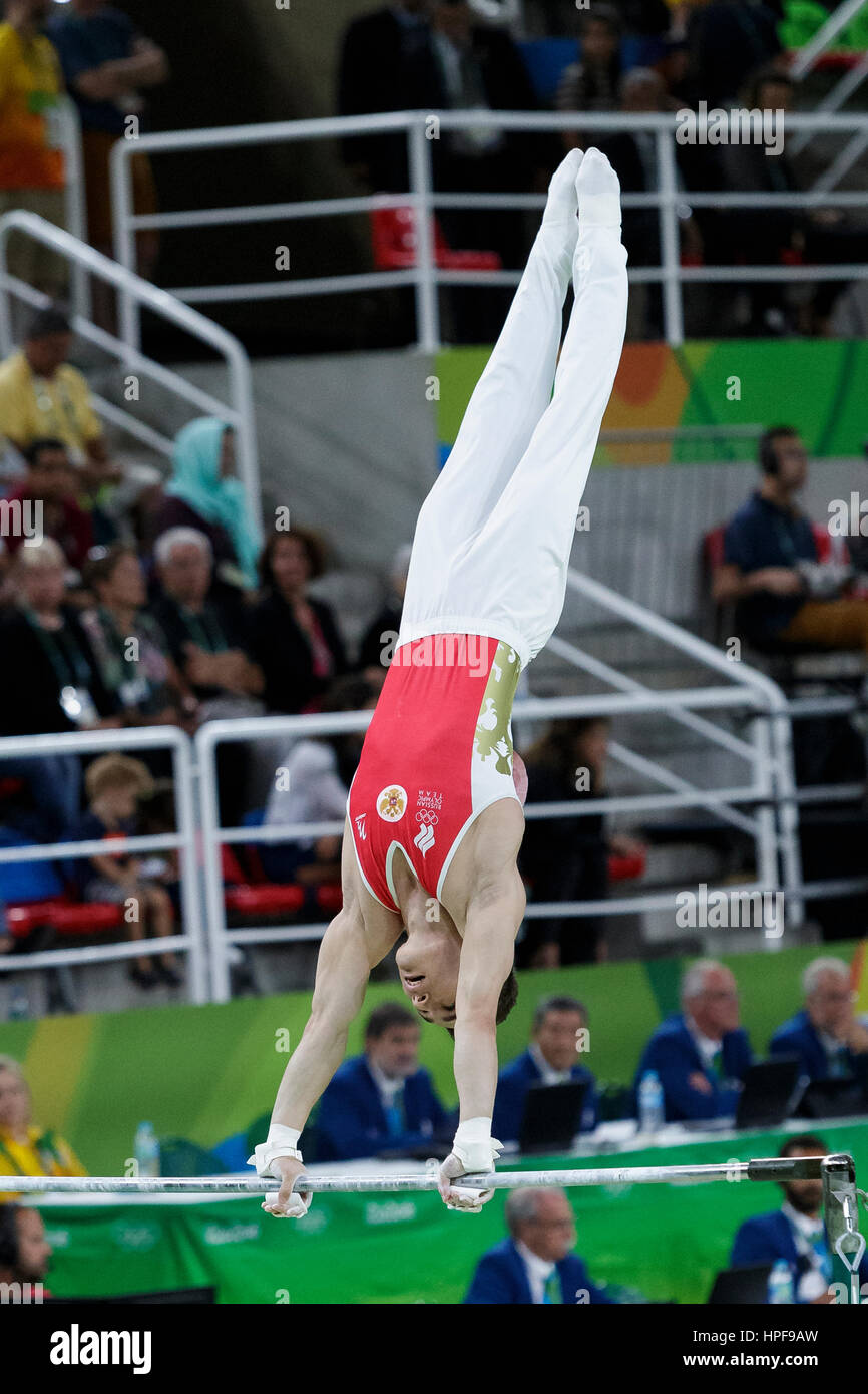 Rio de Janeiro, Brazil. 08 August 2016  Nikolai Kuksenikov (RUS) performs on the Horizontal Bar during Men's - Stock Image
