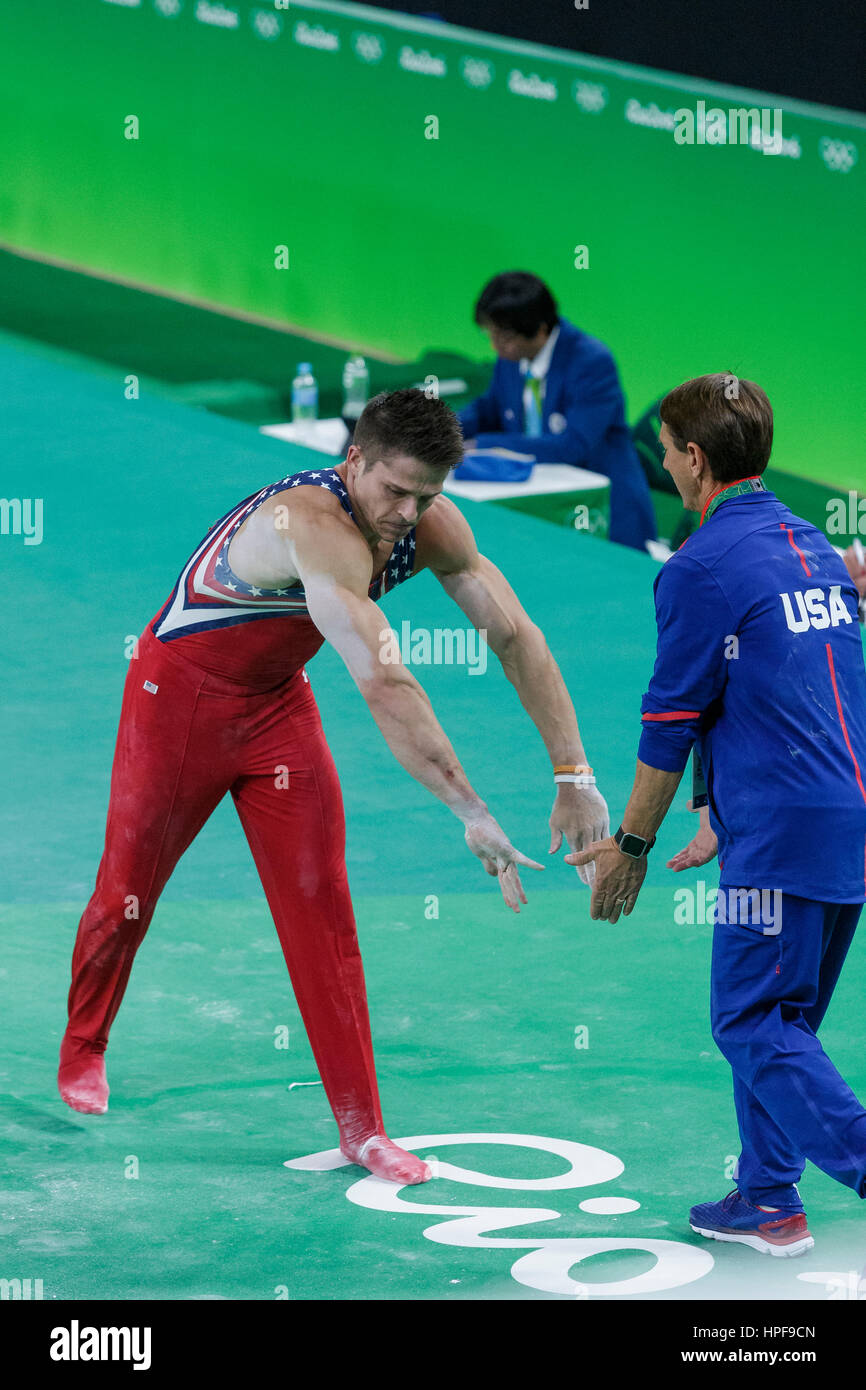 Rio de Janeiro, Brazil. 08 August 2016 Christopher Brooks (USA) after performing on the Parallel Bar during Men's - Stock Image