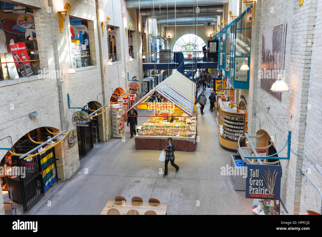 Interior of The Forks Market, The Forks, National Historic Site, Winnipeg, Manitoba - Stock Image