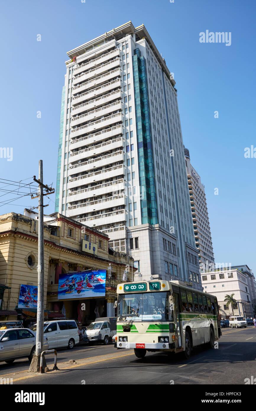 Sakura Tower, Yangon, Myanmar - Stock Image