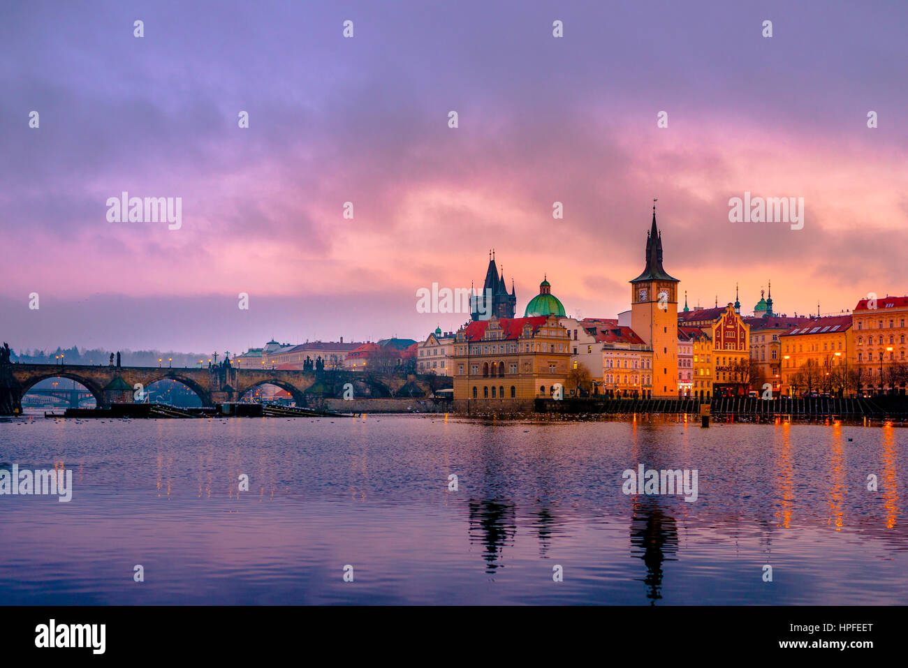Vltava, Charles Bridge, Bridge Tower, sunrise, historic centre, Prague, Bohemia, Czech Republic - Stock Image