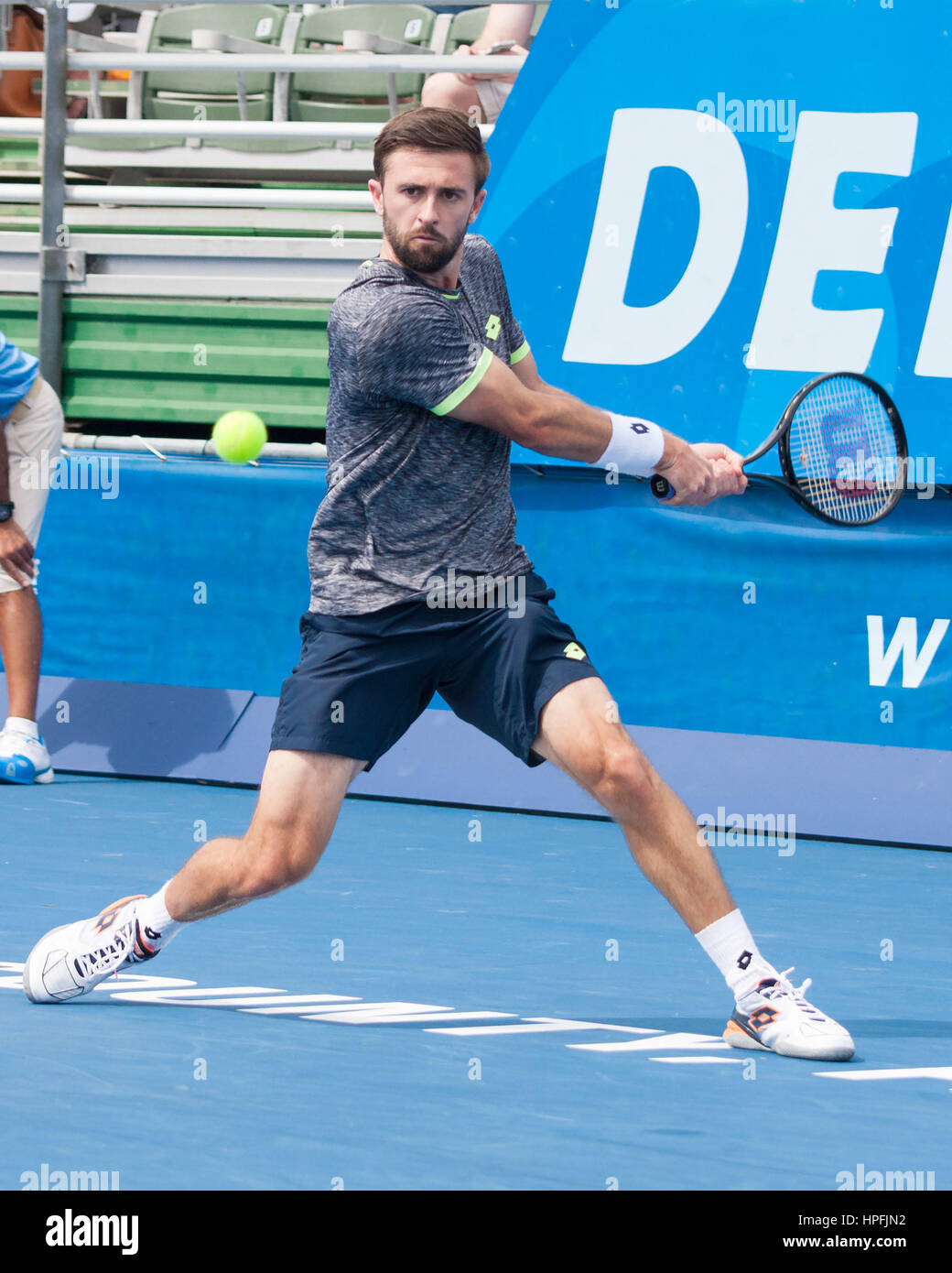 Delray Beach, Palm Beach County, US. 21st Feb, 2017. American tennis pro TIM SMYCZEK in action on court during the Stock Photo