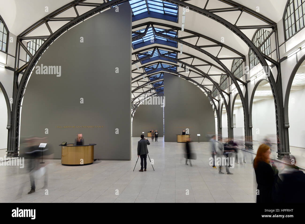 """Berlin, Germany. 22nd Feb, 2017. Visitors enter the installation """"The Probable Trust Registry: The Rules of the Stock Photo"""
