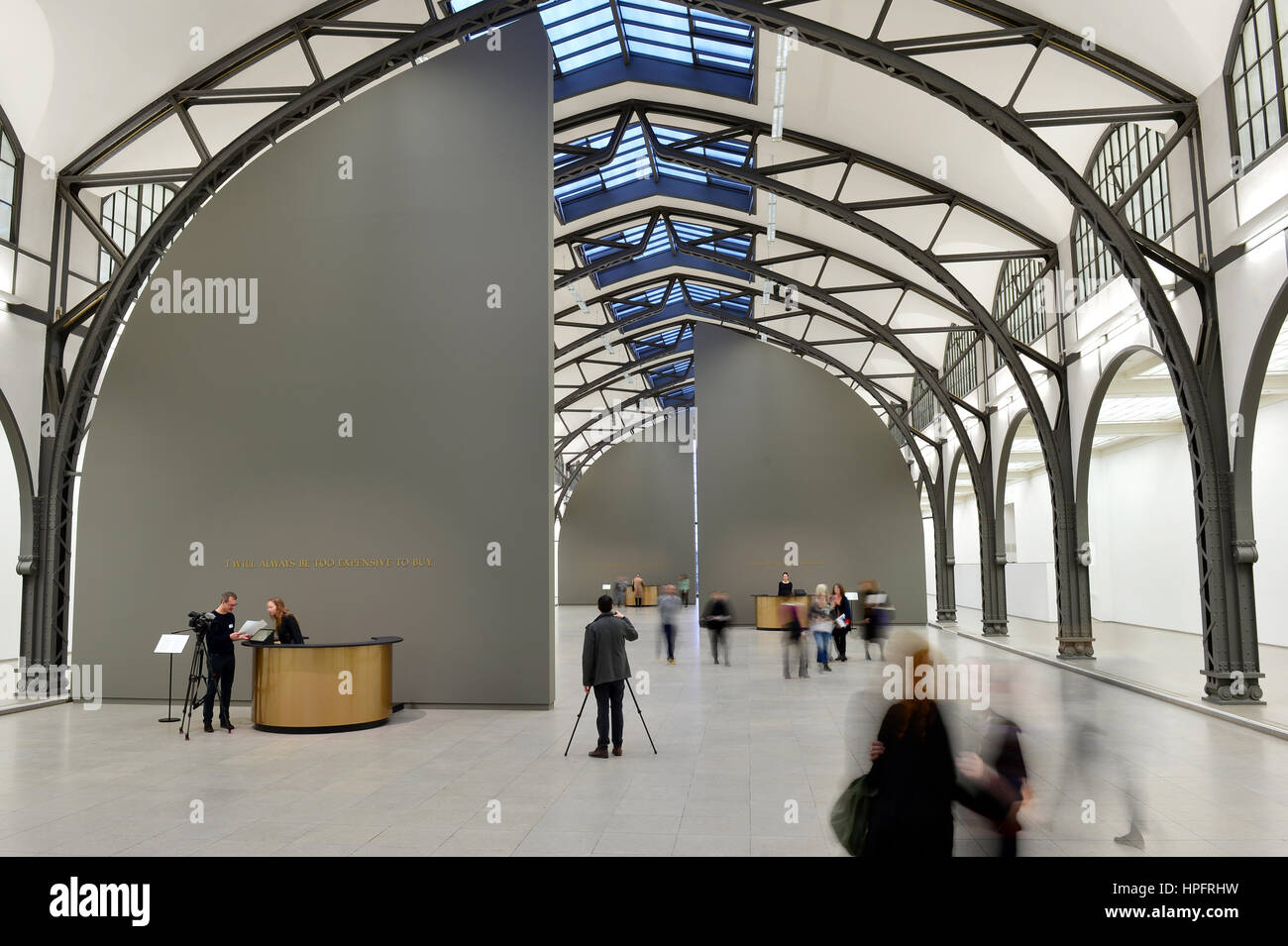 "Berlin, Germany. 22nd Feb, 2017. Visitors enter the installation ""The Probable Trust Registry: The Rules of the Stock Photo"