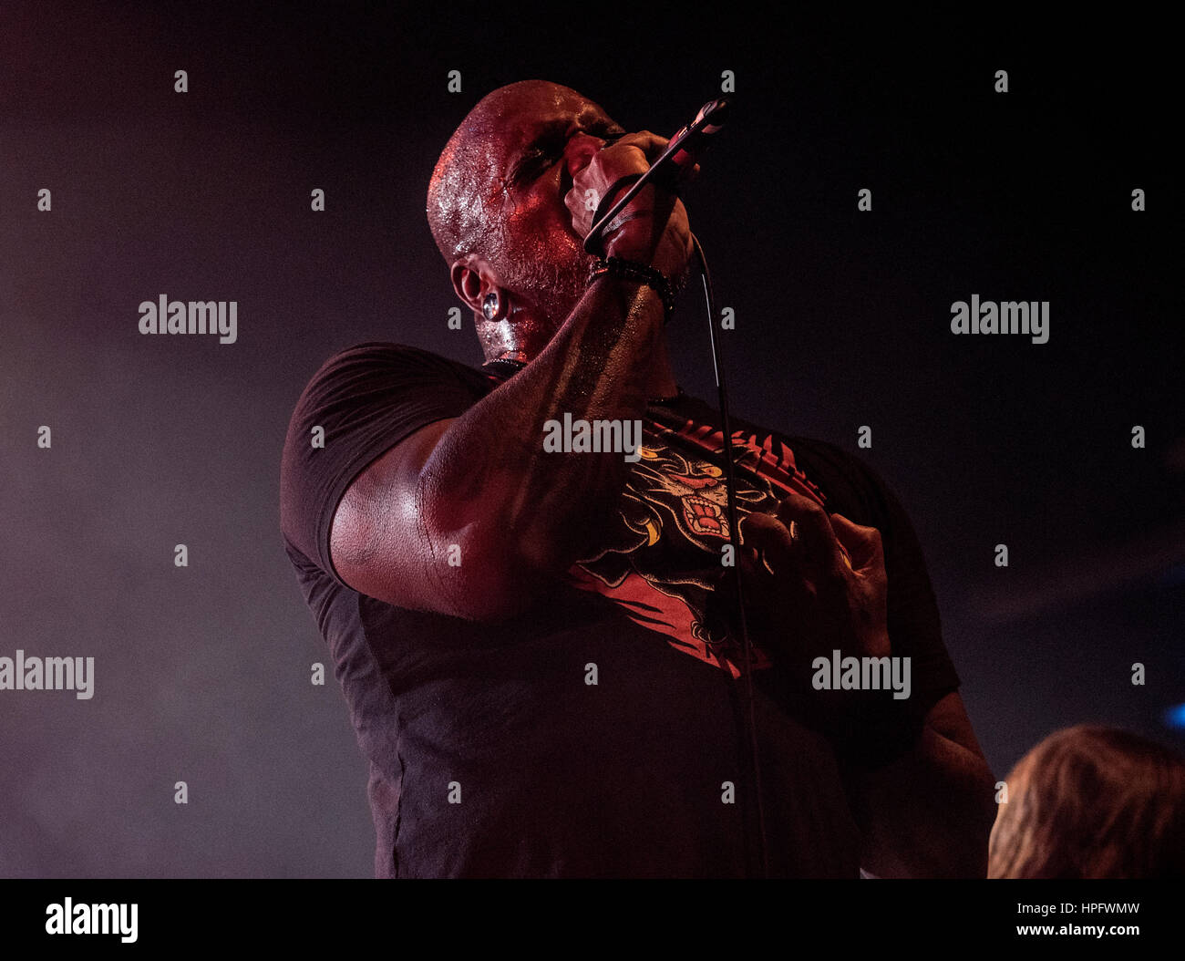 Derrick Green of Sepultura performing in Live Music Club at Trezzo Sull'Adda February 21st, 2017.Sepultura a - Stock Image