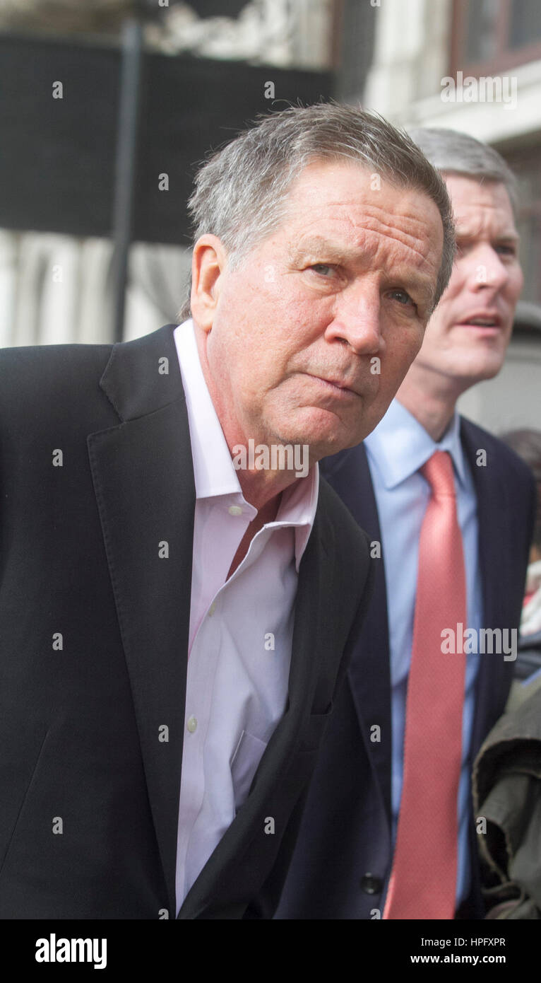 London UK. 22nd February 2017. Ohio Governor John Kasich who sought the  Republican nomination for US President - Stock Image