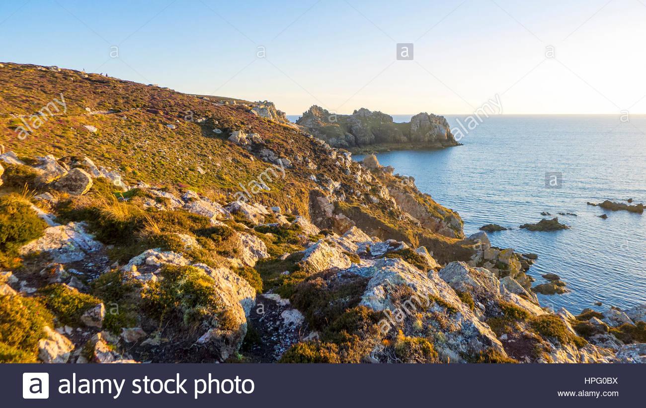 France, Brittany (Bretagne), Finistere department, Crozon. Pointe de Dinan on the Presqu'ile de Crozon, Parc - Stock Image