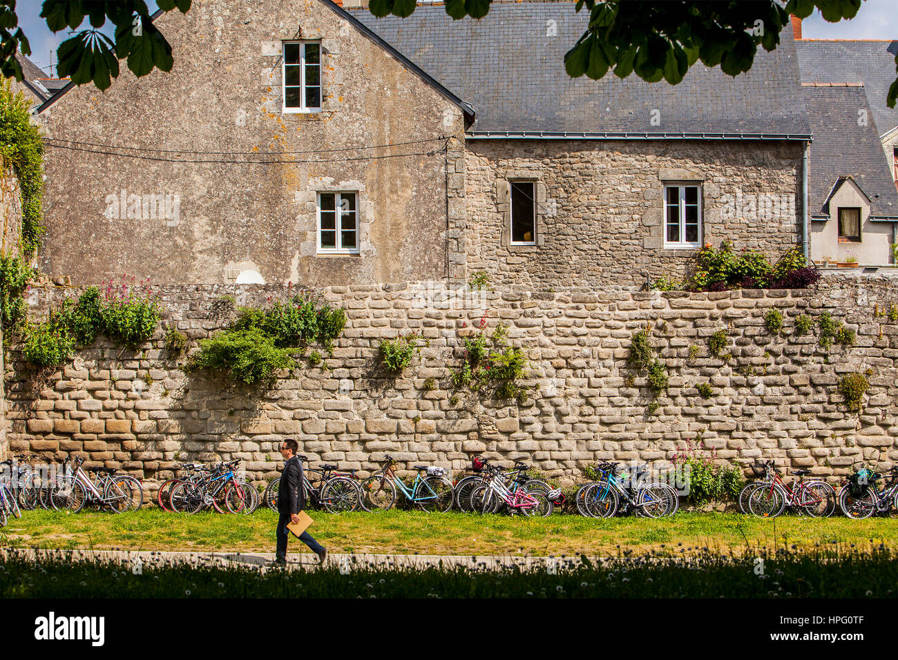 Ramparts and houses of medieval city, Guerande, Loire-Atlantique, France Stock Photo