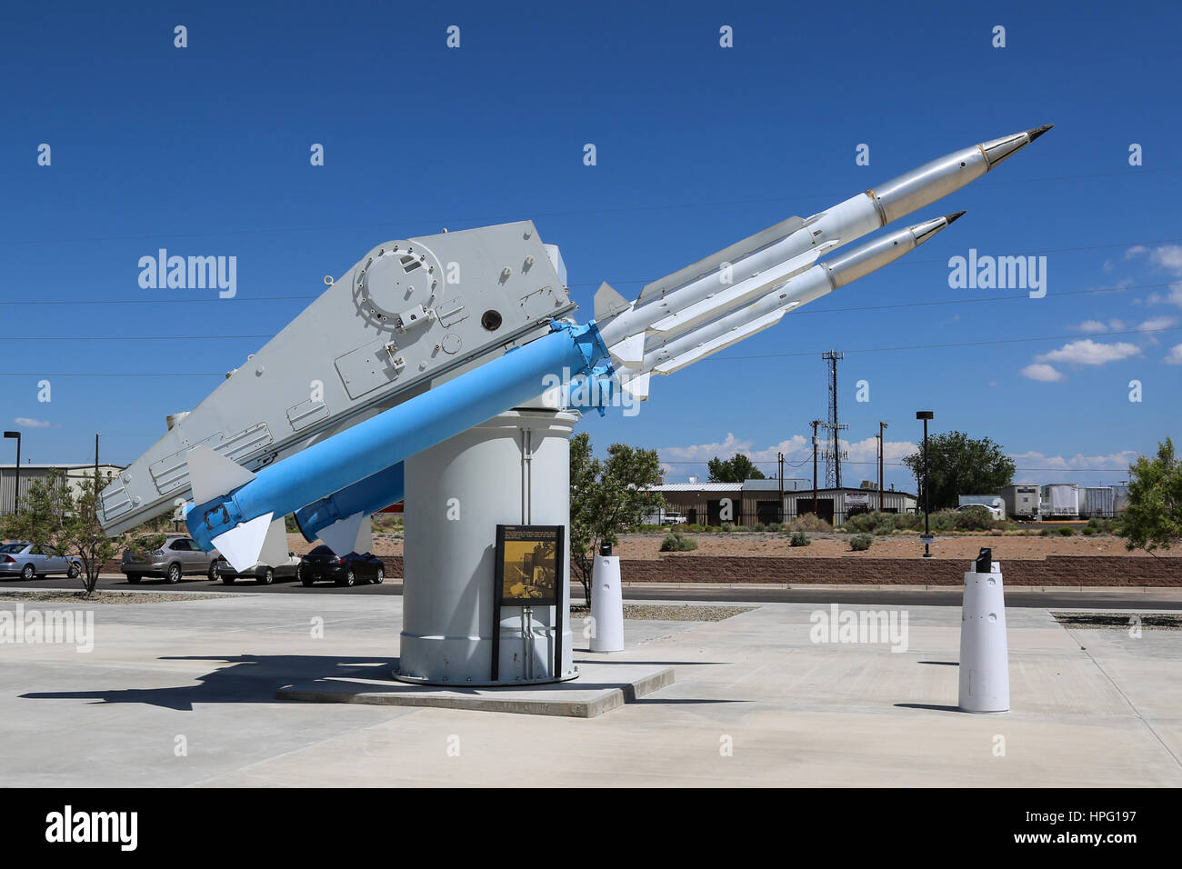 Inert-Tipped, Naval, Terrier Missiles on launcher at the National Museum of Nuclear Science & History - Stock Image