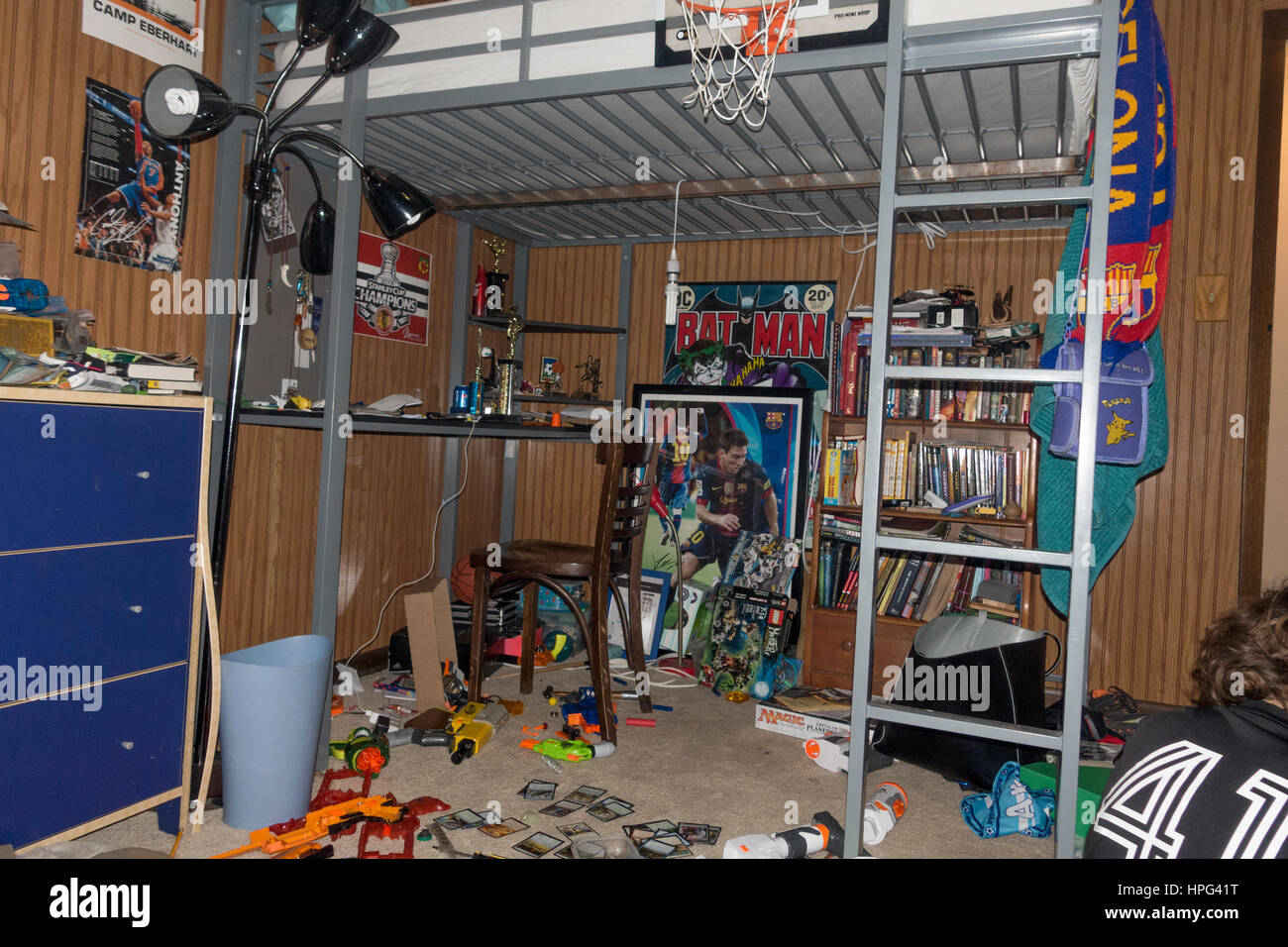 Glimpse into the life of an active 12 year old boy's bedroom filled with  everything he loves. Downers Grove Illinois IL USA