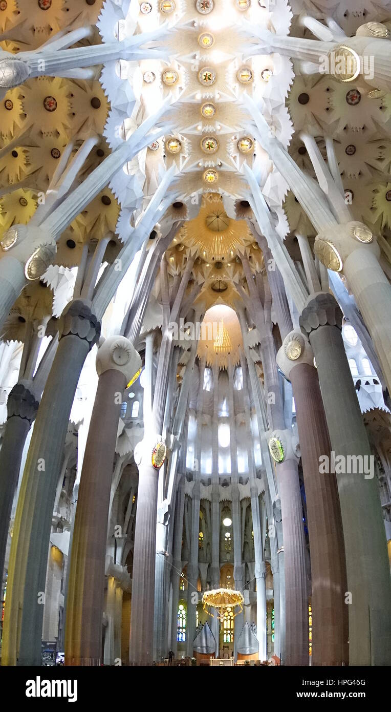 Inside Of Sagrada Familia Cathedral, Barcelona, Spain - Stock Image
