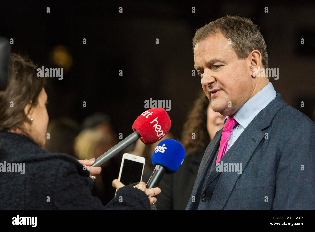 London, UK. 21 February 2017. Hugh Bonneville. Red carpet arrivals for the UK premiere of Viceroy's House at - Stock Image