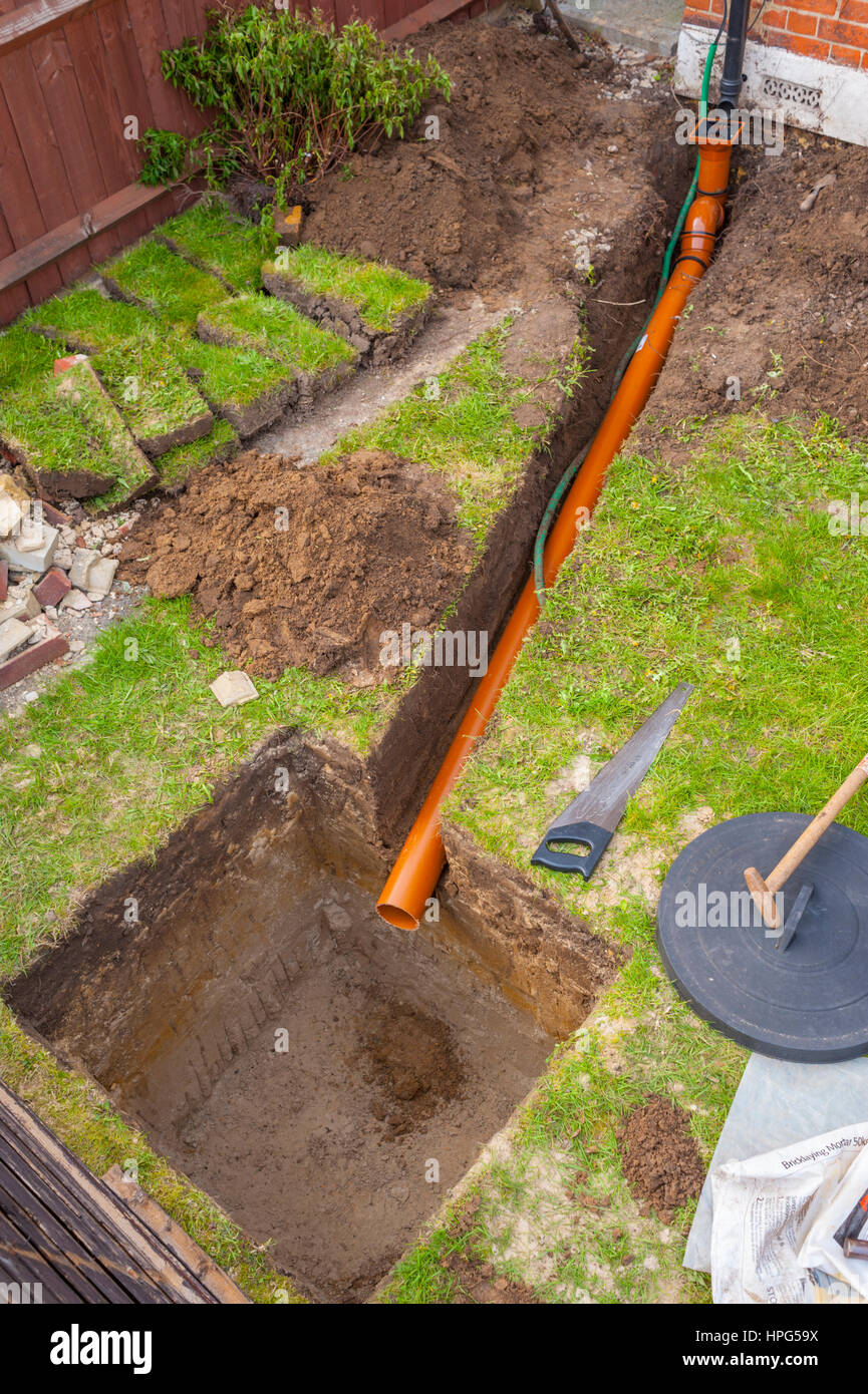 Digging A Drain Soakaway In A Small Front Garden Stock