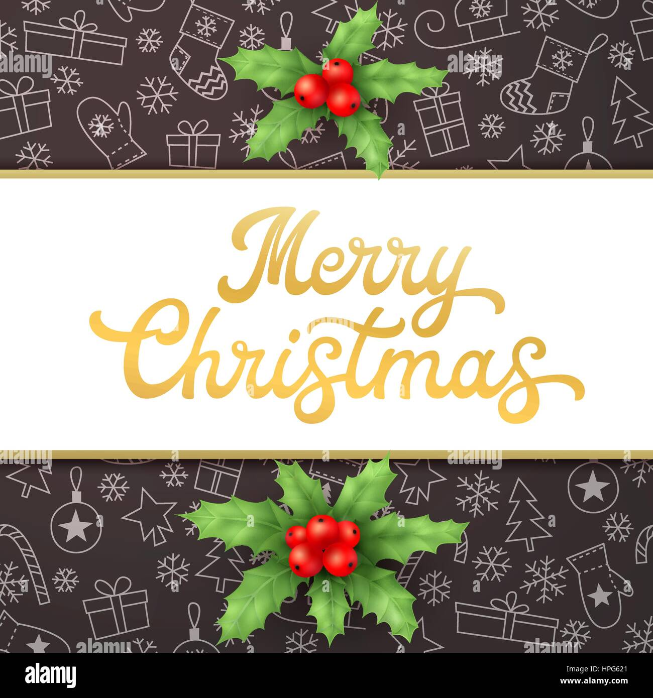 Merry Christmas. Square Xmas card with gold lettering inscription and holly on black background with sleighs, trees, - Stock Image