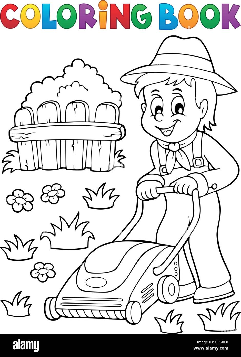 Coloring book gardener with lawn mower - eps10 vector illustration ...