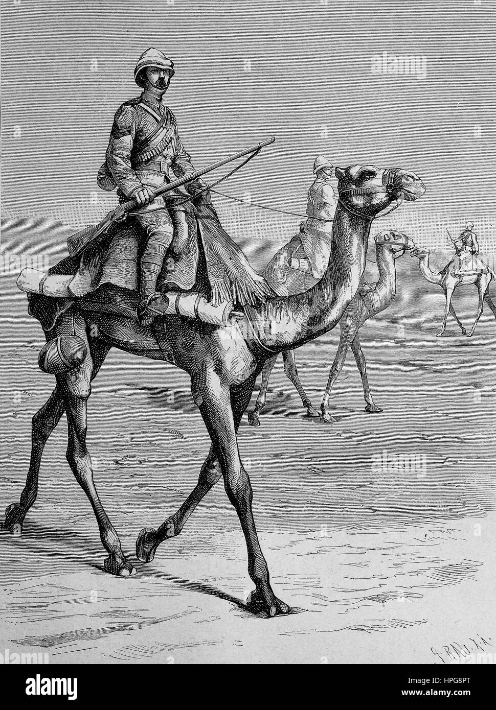 English camel rider in Egypt, englische Kamelreiter in ?gypten, digital improved reproduction of a woodcut from - Stock Image