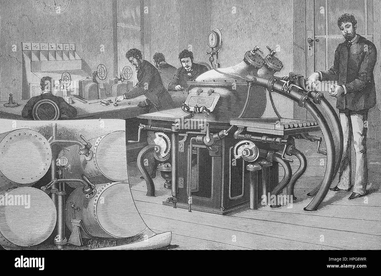The pneumatic mail in Vienna, Austria. In Austria, the Austrian postal and telegraph administration operated only - Stock Image