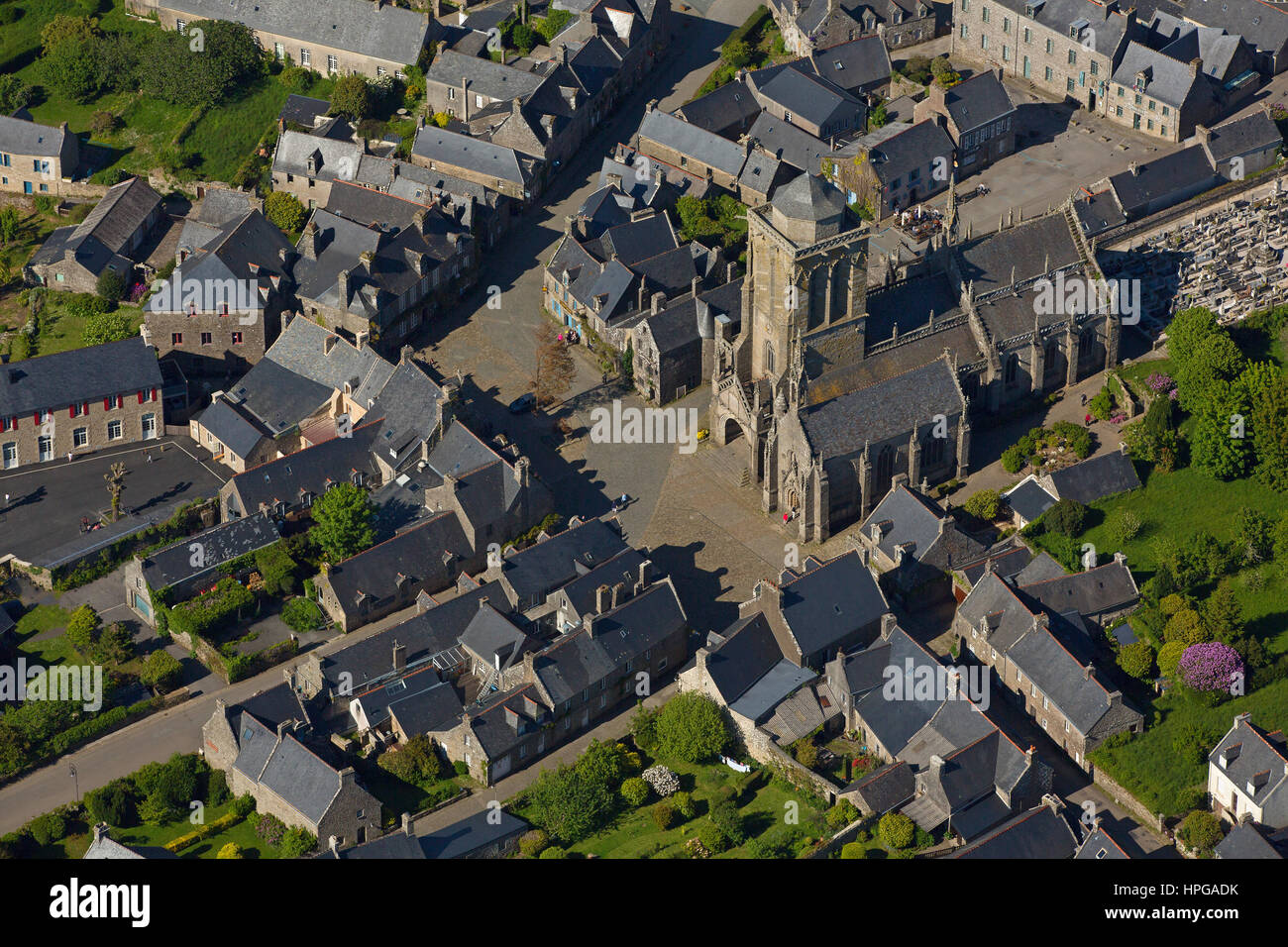 France, Brittany, Finistere, Locronan, labeled the most beautiful villages of France, aerial view - Stock Image