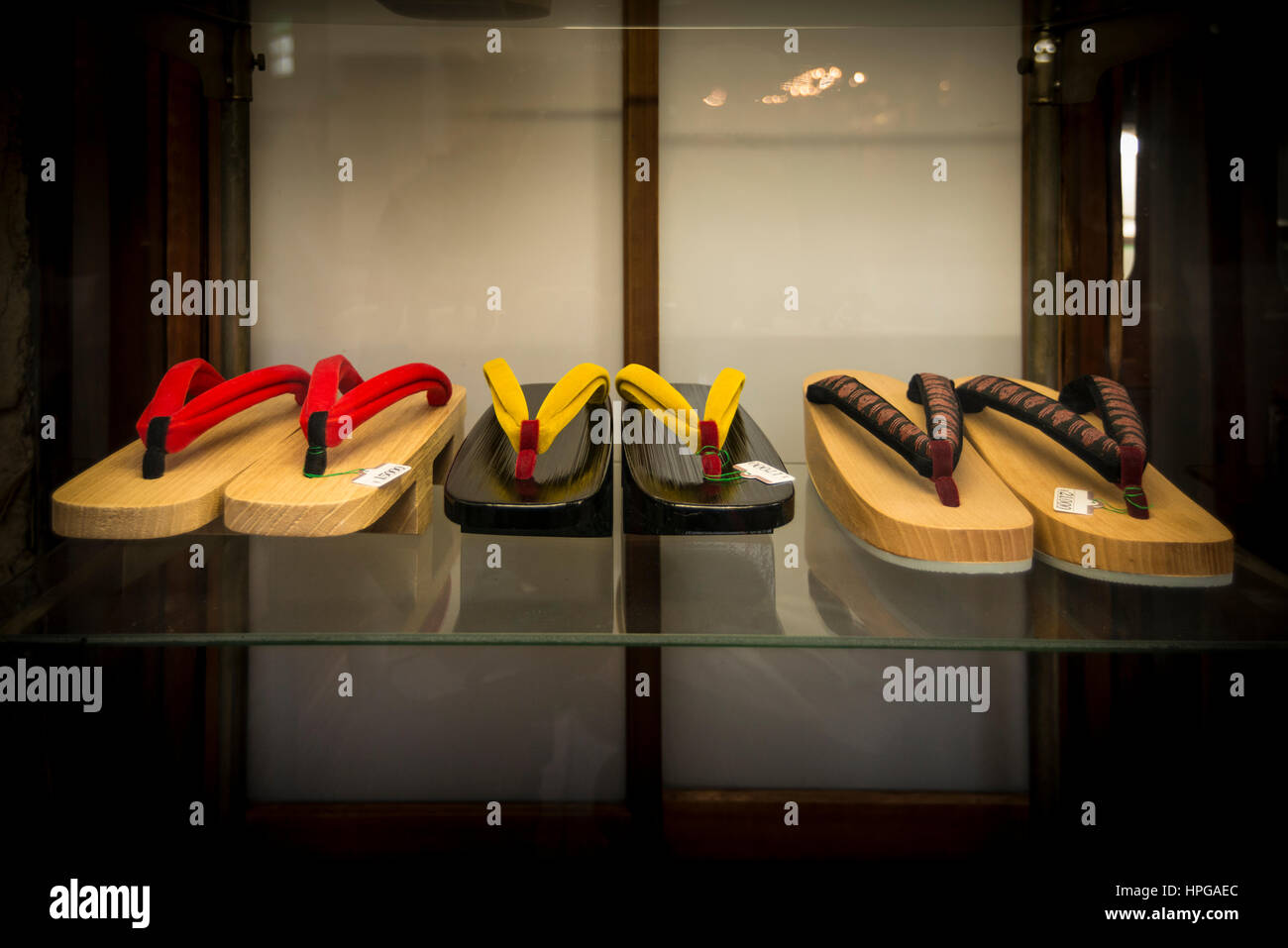 Display of Geta, traditional Japanese footwear, Kyoto, Japan - Stock Image