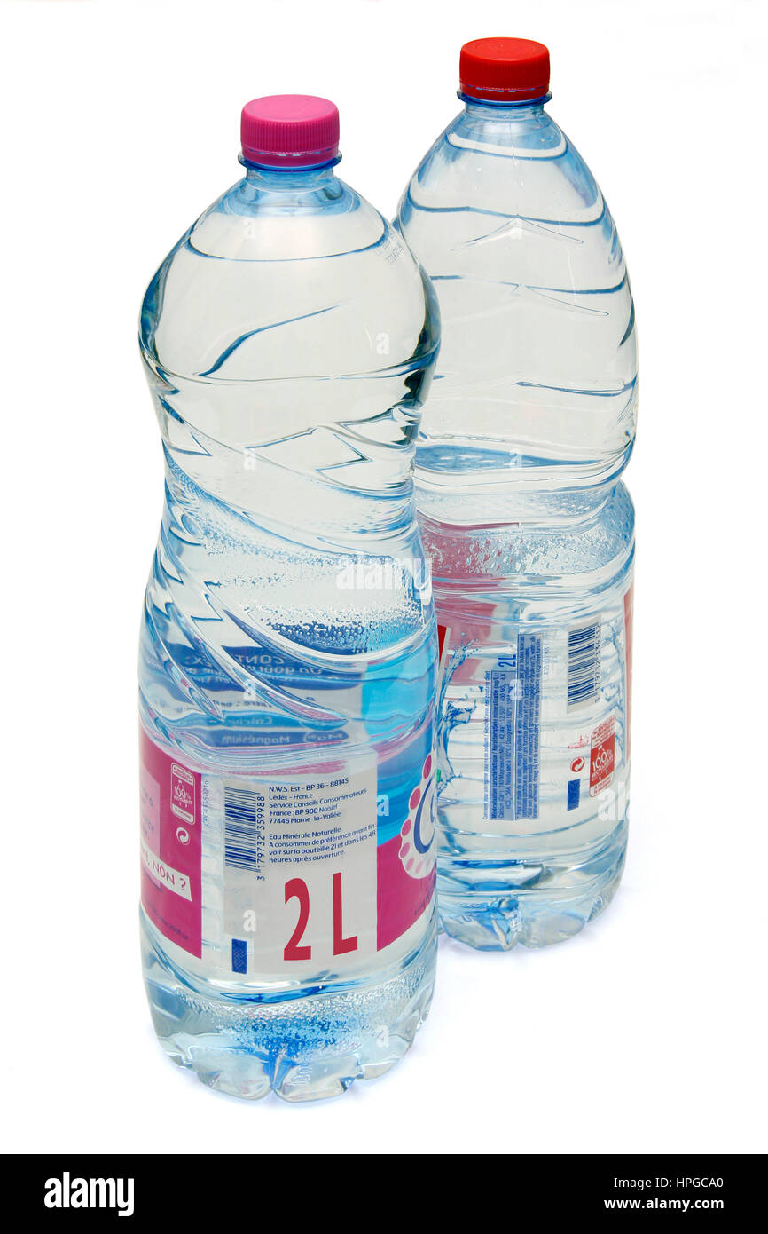 Close-up on two bottles, mineral water, 2 liters Stock Photo