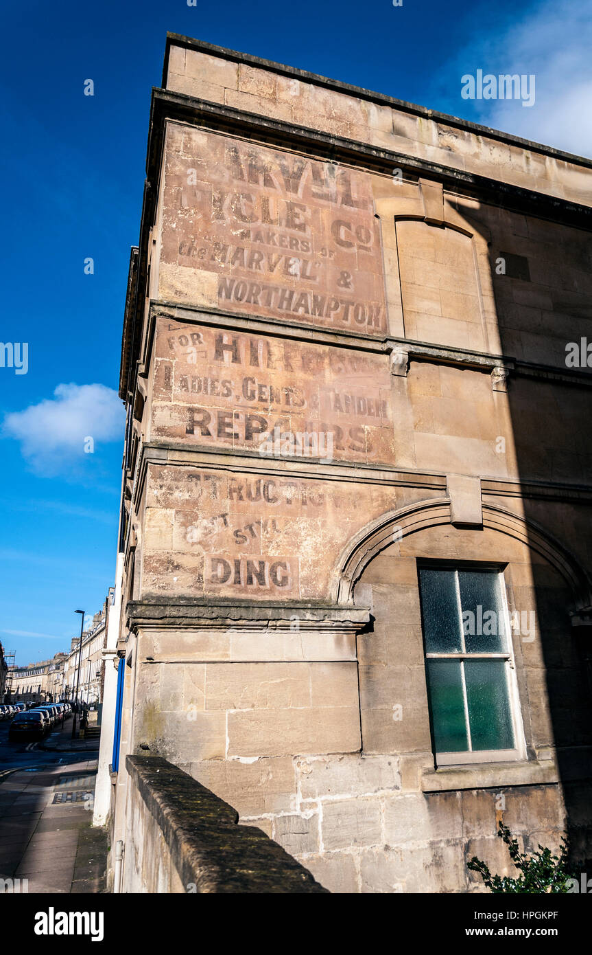 Ghost signs signage in Bath, Somerset, England, UK - Stock Image