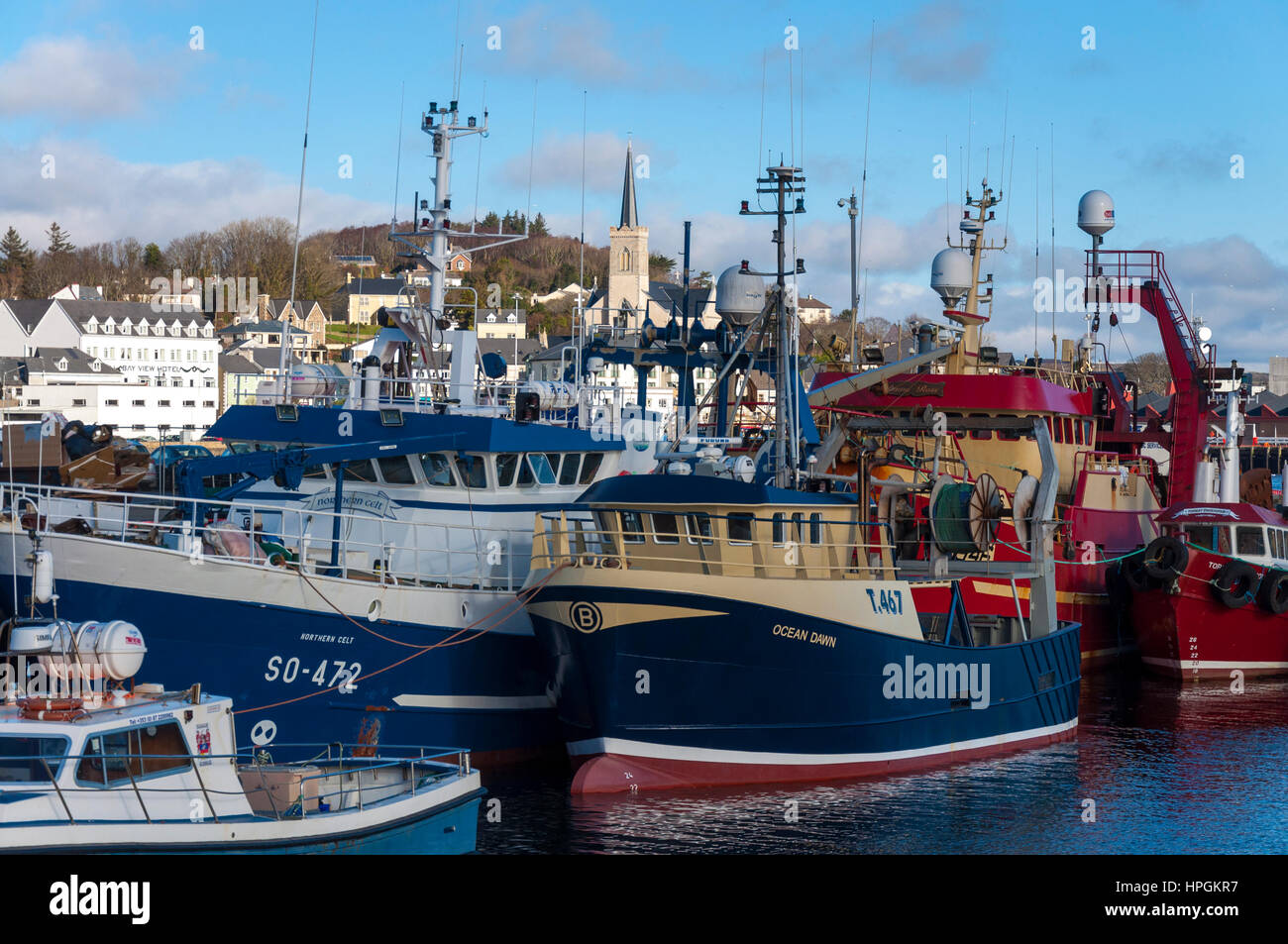 Killybegs fishing port harbour and boats, County Donegal, Ireland - Stock Image