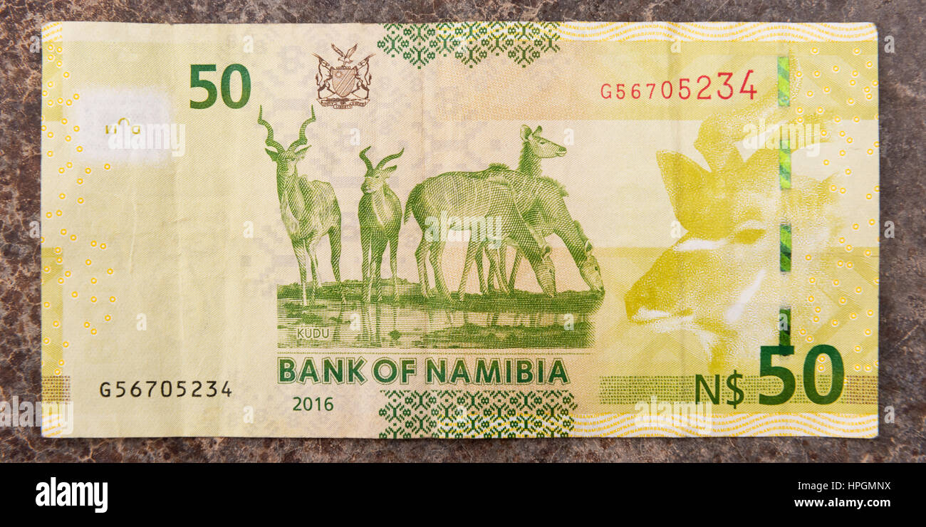 A close up shot of the rear of a 50 Namibian Dollar paper banknote. - Stock Image