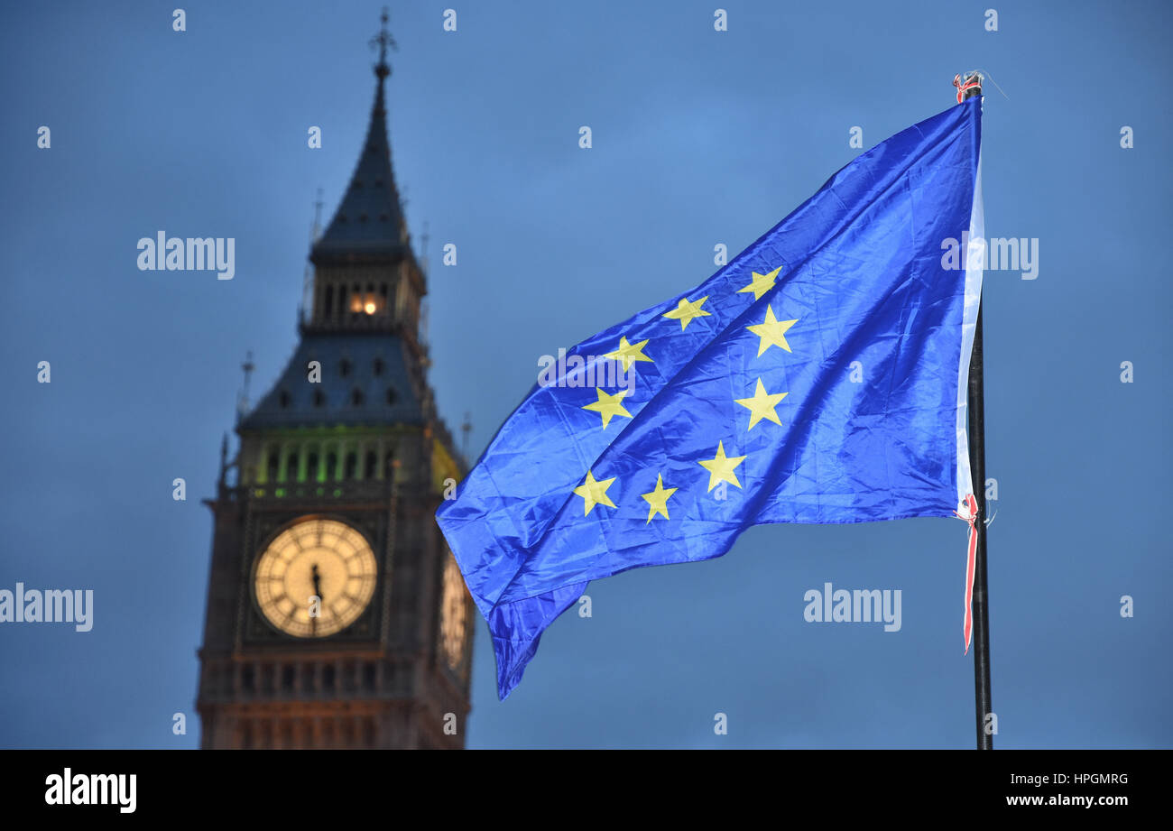European Flag flying outside the Houses of Parliament, Anti-Trump Protest,Parliament Square,London.UK - Stock Image