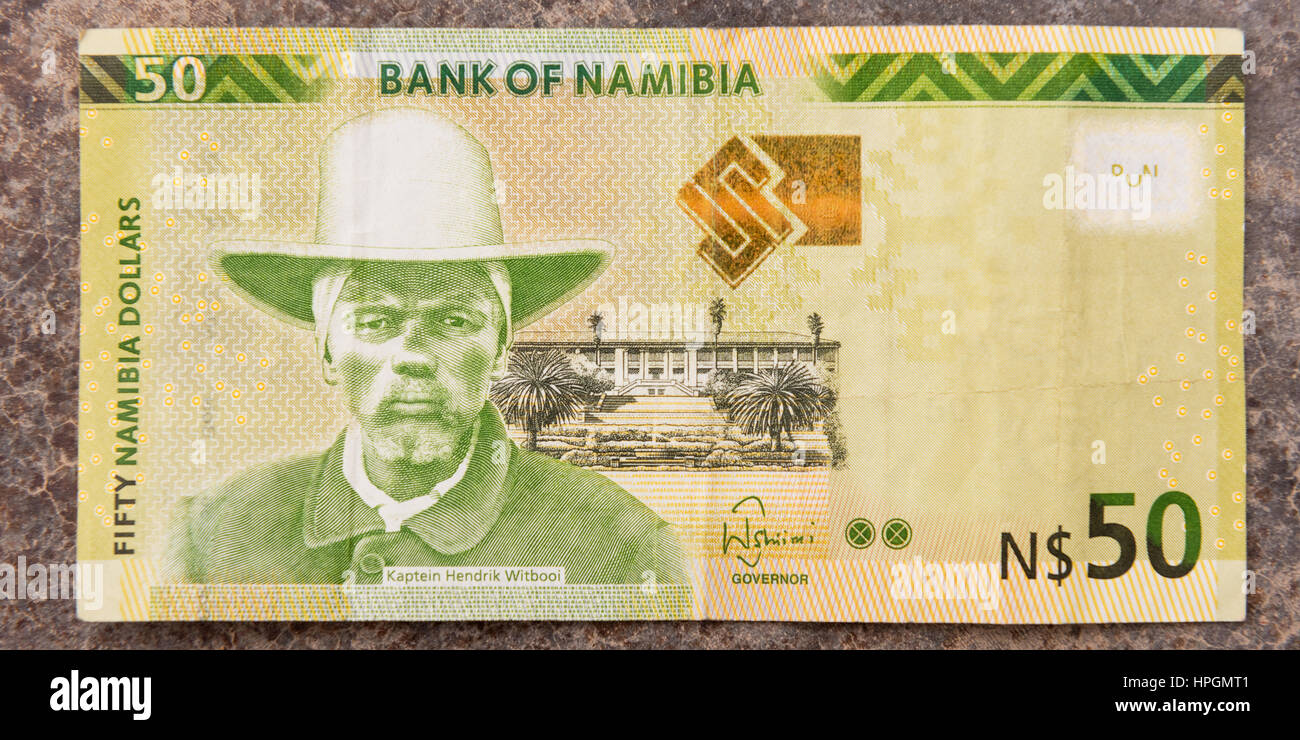 A close up shot of the front of a 50 Namibian Dollar paper banknote. - Stock Image