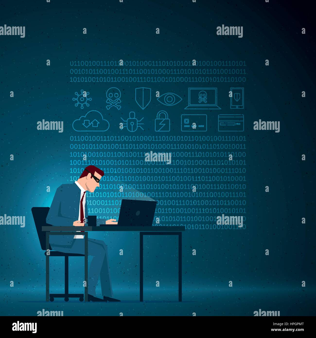 Business concept illustration. Corporate cyber crimes concept. The masked businessman is working with the computer. Stock Vector