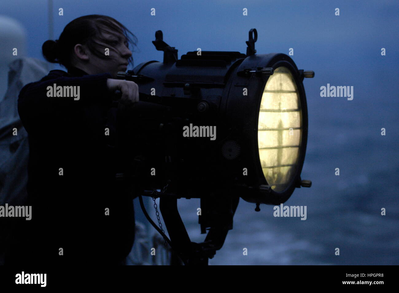 AJAXNETPHOTO. 2012. AT SEA, UK TERRITORIAL WATERS. - A WARSHIP'S ALDIS LAMP IN USE TO SEND SIGNALS TO OTHER - Stock Image