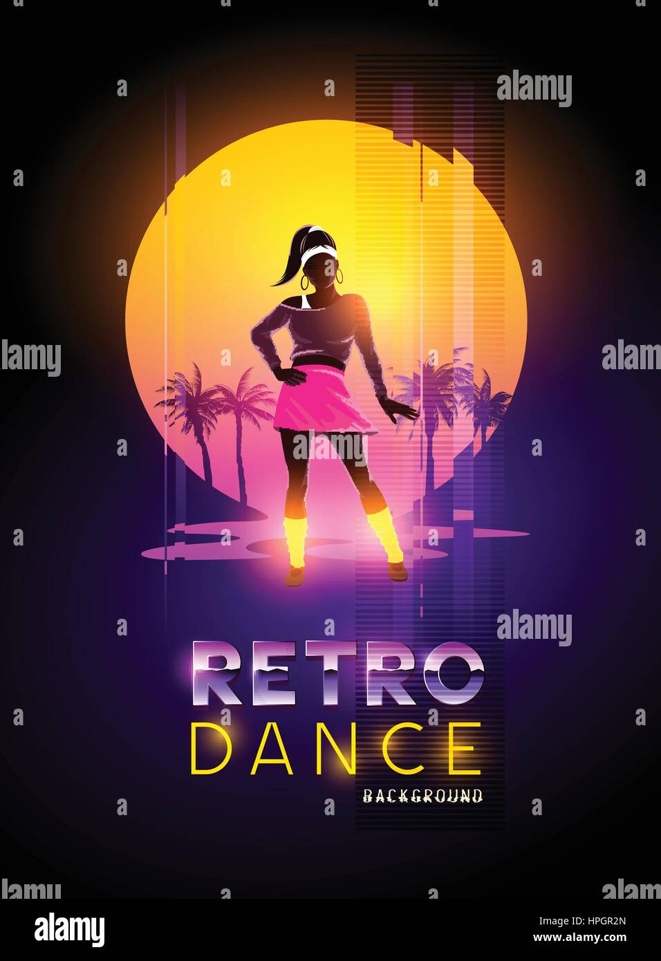 A women dancer against a retro glitch sunset. Vector illustration - Stock Vector