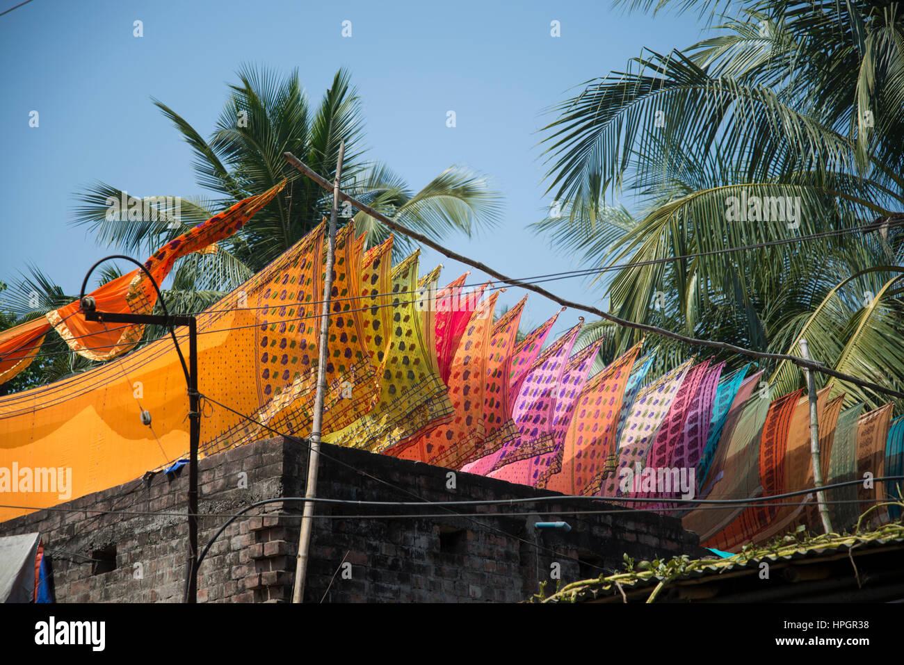 Newly made saris on washing line, Navadwipa, India. Stock Photo