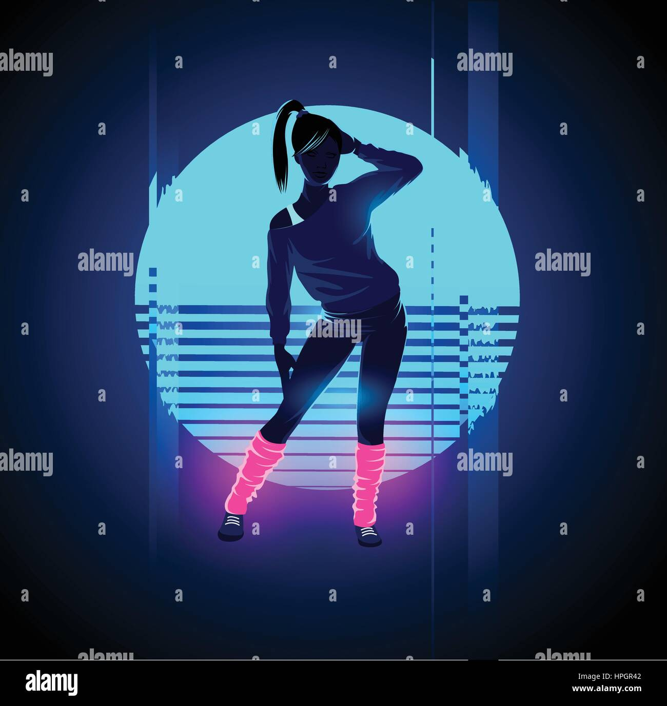 Retro 1980's glowing neon dancing lady with glitch sunset background. Vector illustration - Stock Vector