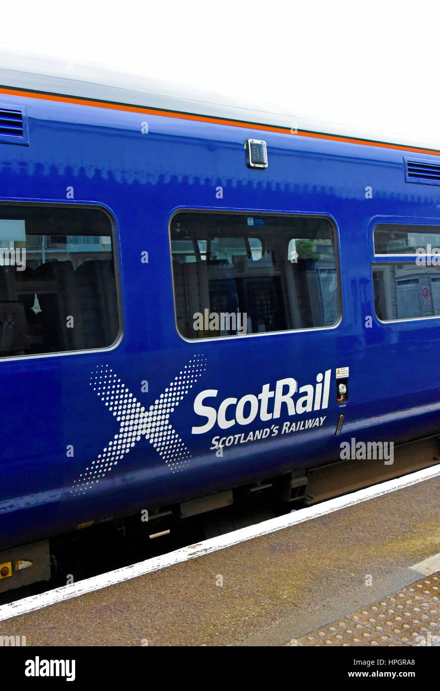 ScotRail Logo on British Rail Class 158 Express Sprinter diesel multiple unit. Kyle of Lochalsh station, Ross and - Stock Image